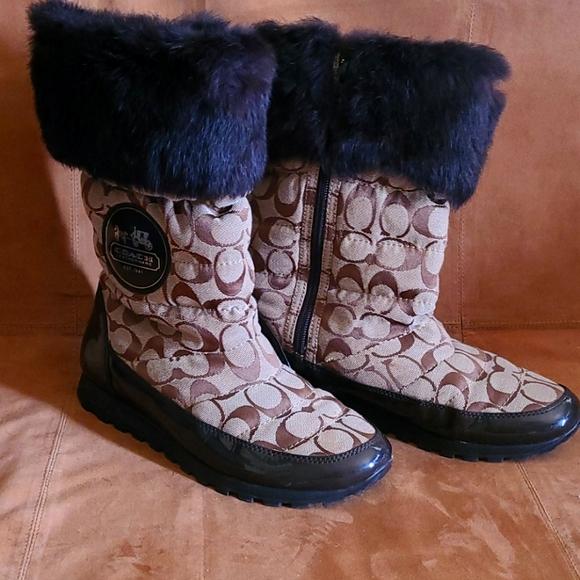 Coach Joyous Fur Trim winter monogram boots